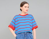 Vintage 80s T-shirt, Striped Tee Shirt, Oversize Shirt, Crop Top, Cropped T-shirt Blue Red Small Medium S M - Nwt