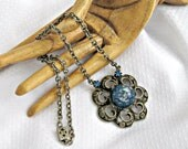 50s Choker Necklace Blue Glitter Lucite and Rhinestones w Metal Openwork