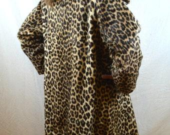 Vintage 1960s Leopard Faux-Fur Couture Bombshell Jacket Coat -  Kilimanjaro Sidney Blumenthal Fabulous Mid Century Tea Length