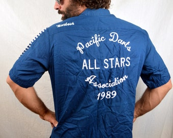 Nice Vintage 60s 1960s Hilton Embroidered Bowling Shirt - Pacific Dart All-Star
