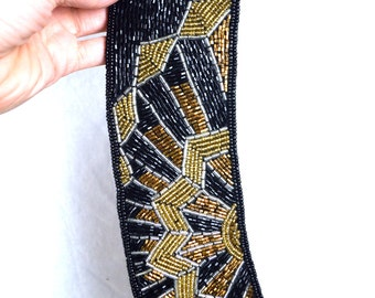 Beautiful Vintage Formal Black Gold Beaded Party Belt - La Regale