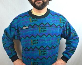 Vintage 80s Columbia Geometric Southwest Print Fleece Pullover
