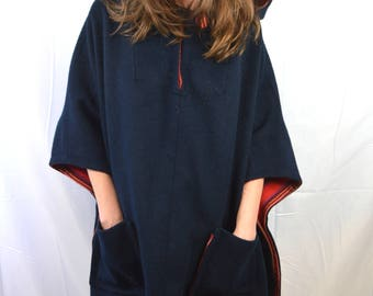 Vintage Wool Plaind Poncho Hooded Sweater Coat