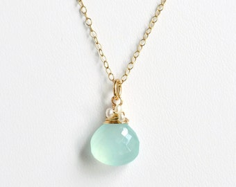 Aqua Chalcedony Necklace in Gold Fill / Aqua Gemstone Pendant with Pearls / March Birthstone Jewelry / Choose Your Chain Length