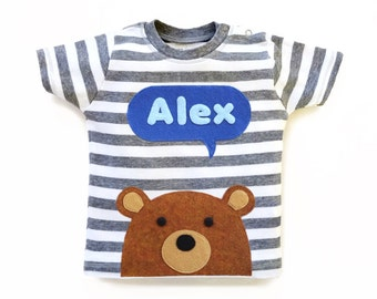 Personalized Teddy Bear T-Shirt, Baby Shower Gift, Baby Boy