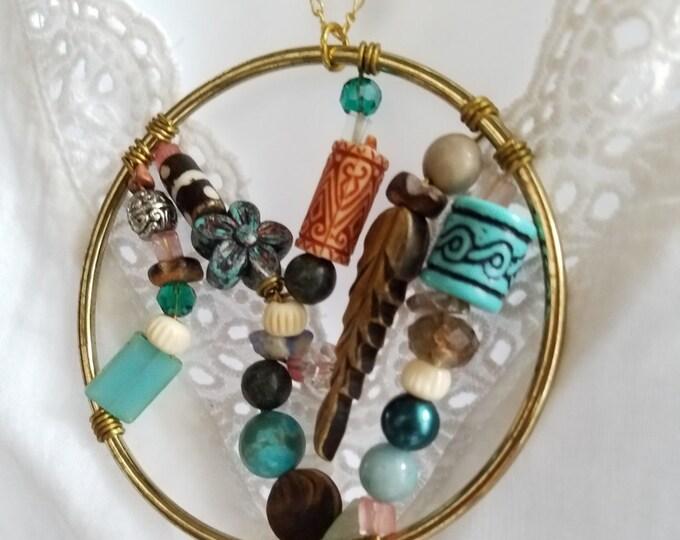 Dream Catcher necklace, Feather Necklace, Bohemian pendant, Hippie necklace, Statement boho Necklace, large hoop pendant, beaded necklace