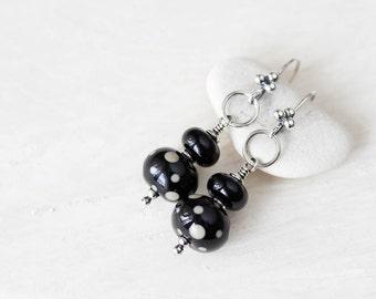Black Lampwork Earrings, Sterling silver earrings, stacked glass bead dangle earrings, black and brown polka dot