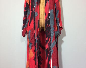 Vintage 70's Pierre Cardin Abstract Kimono Robe Duster