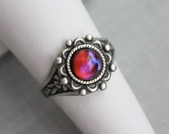 Dragons Breath Mexican Fire Opal Ring. Antique Silver or Antique Brass
