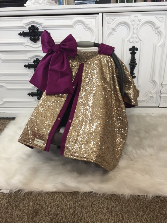 Gold and Merlot car seat canopy , JUMBO bow included , Stunning
