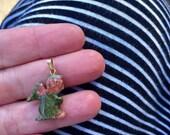 ONE DOLLAR SALE - Vintage - Pendant - Small Stone Praying Angel Pendant - Goldtone