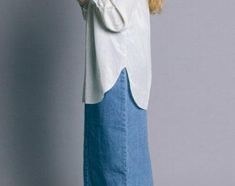 Vintage 80s Mint Silky Tab Collar Tunic   S