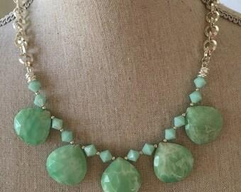 Chrysoprase Necklace/Swarovski Crystals/Sterling Silver
