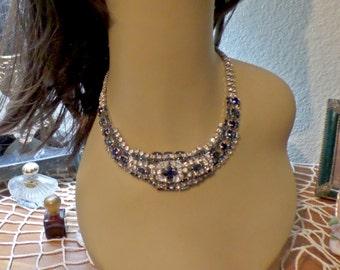 1940 STUNNING Sapphire BLUE Clear Rhinestone Silver Rhodium Choker Necklace
