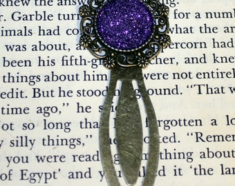 Purple Bookmark, Bronze Purple Glitter Bookmark, Metal Bookmark, Book Lover Gift, Readers Gift, Teacher Gift