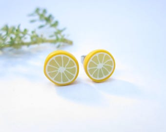 Lemon Stud Earrings, lemon earrings, sliced lemon jewelry, food earrings, gift yellow polymer clay food jewelry fruit cute lemons miniature