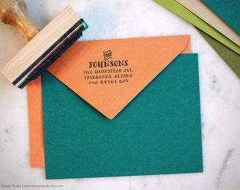 Custom Return Address Stamp Vintage Style 128, Custom Family Wood Address Stamp, Housewarming Gift Stamp, Personalized Return Address
