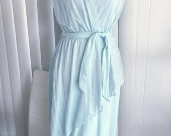Disco Diva Vintage 70's Baby Blue Sheer Dress with Key Hole Back Size L