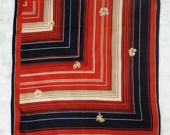 Vintage 70s Brick Red, Black & Beige Lines with Flowers Scarf