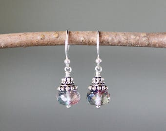 Rainbow Quartz - Bali Silver Earrings - Rainbow Gemstone Earrings - Mystic Quartz - Wire Wrapped Earrings Silver - Jewelry Gift for Her