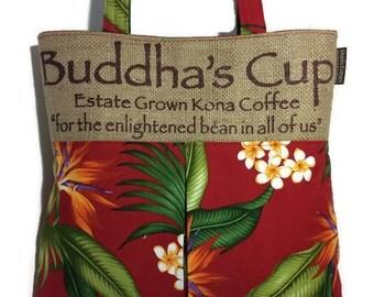 MTO. Custom. Burlap and Pleated Hobo Handbag. Botanical Aloha Print. Repurposed Buddha's Cup Coffee Bag. Handmade in Hawaii.