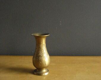 Just Brassy - Small Vintage Brass Vase - Etched Floral Illustration - Brass Bud Vase