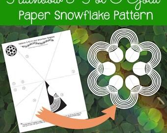 Rainbow & Pot O'Gold Paper Snowflake Pattern (PDF Digital Download) - Paper Snowflake Printable Template - St. Patrick's Day Pattern