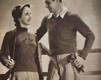 1930's knitting patterns for man and woman