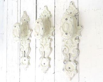 Shabby Cottage Hooks, Ornate Hooks, Vintage Inspired, Fancy Knobs, Towel Hooks, Coat Hooks, French Cottage, Paris Apartment, Organization