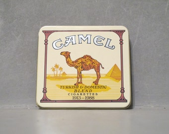 Vintage Special Edition 1988 Camel Turkish & Domestic Blend Employees Cigarettes Tin / Tobacciana Advertising Tobacco Box Case 75th Birthday
