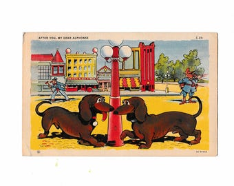 WWII Dachshund Postcard with Note Home From Soldier 1941 Sent RPO Railway Post Office Railroad