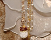 Berries in the snow fresh water pearl rosary chain necklace winter holiday Sacred Jewelry Pamelia Designs