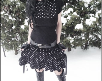 Top - Steampunk - Burning Man - Tunic - Playa Wear - Black and Polka Dots - Shirt - Bohemian Gypsy - Sexy - Victorian Style - Size Small
