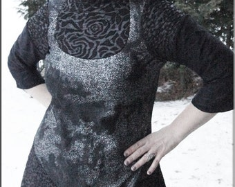 SALE - Dress - Steampunk - Burning Man - Bohemian - Playa Wear - Pixie Fashion - Black and Silver - Gypsy Boheme - Sexy - Size Large