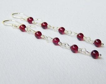 Long Garnet Earrings - Sterling Silver Beaded Dangle Earrings Beadwork Rosary Earrings Drop Earrings Garnet Beads Rosary Chain