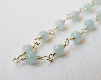 Aquamarine Necklace - Sterling Silver Rosary Necklace Beaded Necklace Aquamarine Beads Rosary Chain Beadwork Necklace March Birthstone