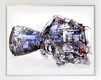 14 x 11 inch SSME - Space Shuttle Main Engine, Science Poster Art Print, Original Illustration - Stellar Science Series™