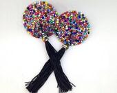 Calliope Riot Rainbow Rhinestone Nipple Pasties - SugarKitty Couture