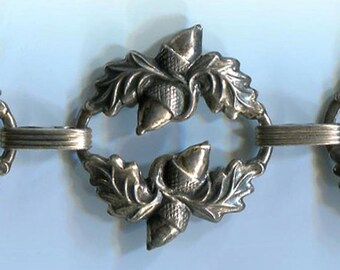 Sterling Silver Danecraft Acorn and Oak Leaves Repousse Vintage Bracelet, Six Links, Autumn Attitude