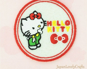Hello Kitty & Blue Bow Patch, Kawaii Sanrio Embroidered Iron On Patch, Japanese Cute Iron on Applique, Made Japan, Embroidery Applique, W212