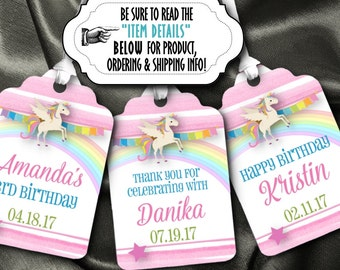 12 Favor Tags, Gift Tag, Unicorn, Rainbows, Magical Pony, Little Horse, Pastel Colors, Birthday Party, Baby Shower