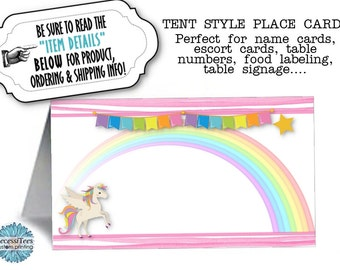 12 Tent Style Place Cards, Name Cards, Buffet Food Labeling Cards, Unicorn, Rainbows, Pastel Colors, , Baby Shower, Birthda Party