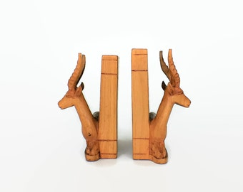 Vintage Pair of Wooden Gazelle Antelope African Bookends