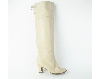 1980s Over The Knee Boots  OTK Thigh High Boots Cream Leather Lace Up Stiletto Tall Boots Rocker High Heel Pointy Toe Size 5