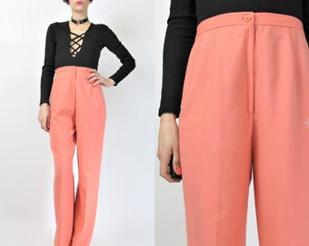 1970s High Waist Wide Leg Pants Womens Wool Trousers Peach Pink Pants Deadstock 70s Bell Bottoms Disco Pleated Pants Palazzo Pants (S) E2087