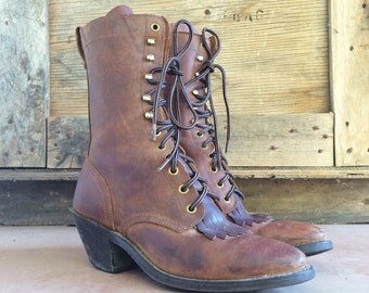 Vintage Women's size 8-1/2 M Packer cowgirl boot, Western Packer boot, lace-up cowgirl boot, granny boot, lace-up Packer, steampunk boot