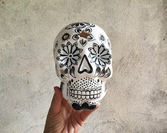 Vintage ceramic Mexican skull sculpture Day of the Dead folk art Halloween home decor