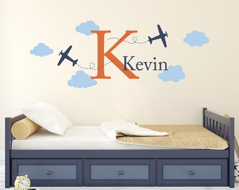 Airplane Wall Decal with Initial and Name - Personalized Boy Name Decal - Plane Wall Sticker - Boy Bedroom Decor - Large