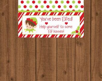 You've been Elfed Bag Topper, Christmas Bag Topper, Elf Kisses Bag Topper, Santa's Elves, Chocolate Kisses