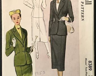 McCall 1951 Fashionable 2-Piece Suit Pattern # 8079 - 1950's Jacket & Skirt - Size 16 Bust 34